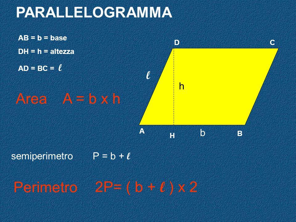 PARALLELOGRAMMA Area A = b x h Perimetro 2P= ( b + l ) x 2 l h b