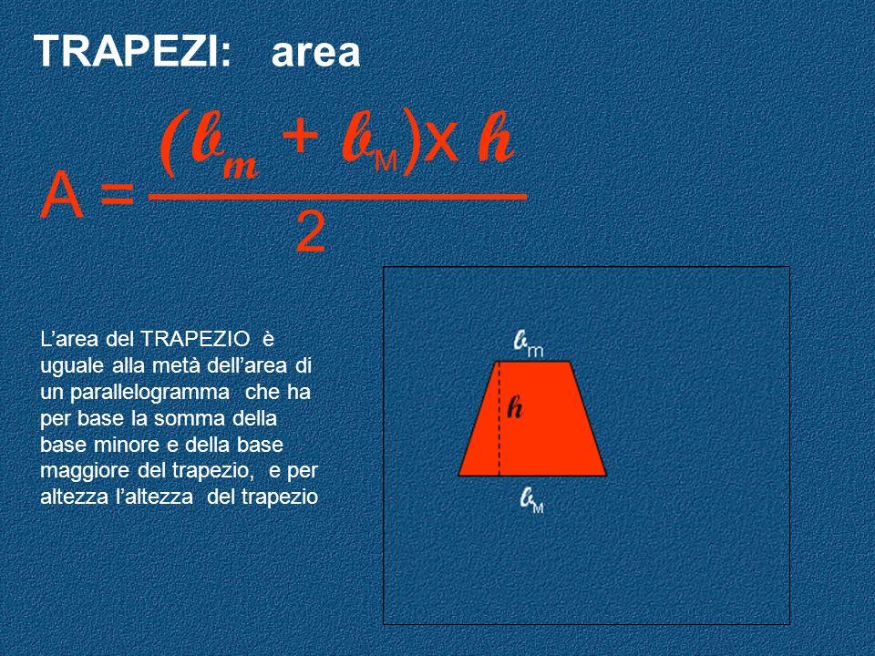 (bm + bM)x h A = 2 TRAPEZI: area