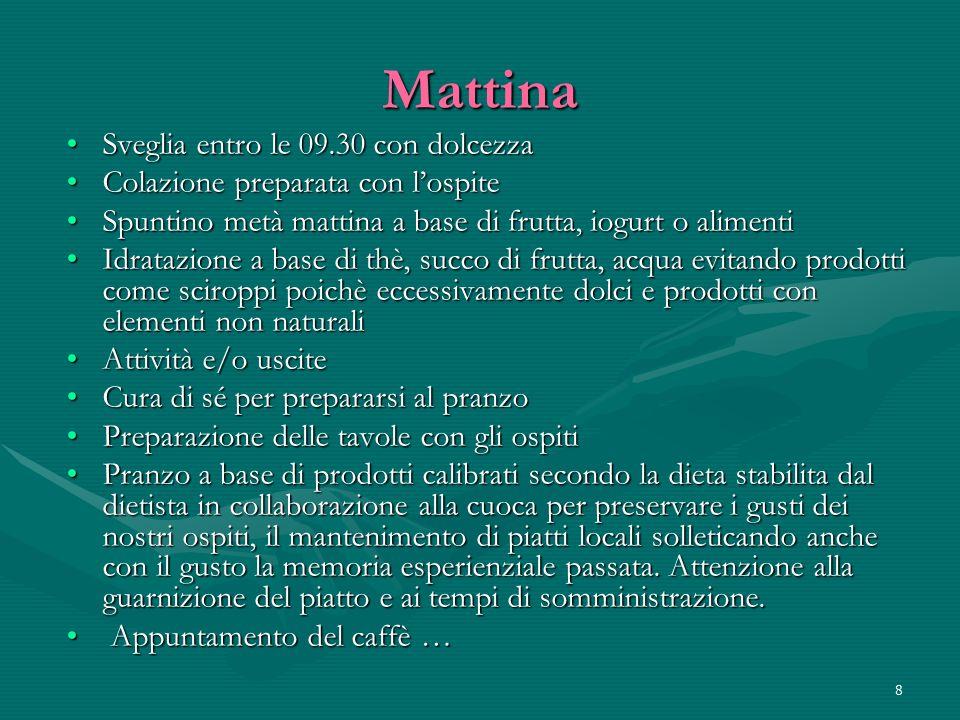 Mattina Sveglia entro le 09.30 con dolcezza