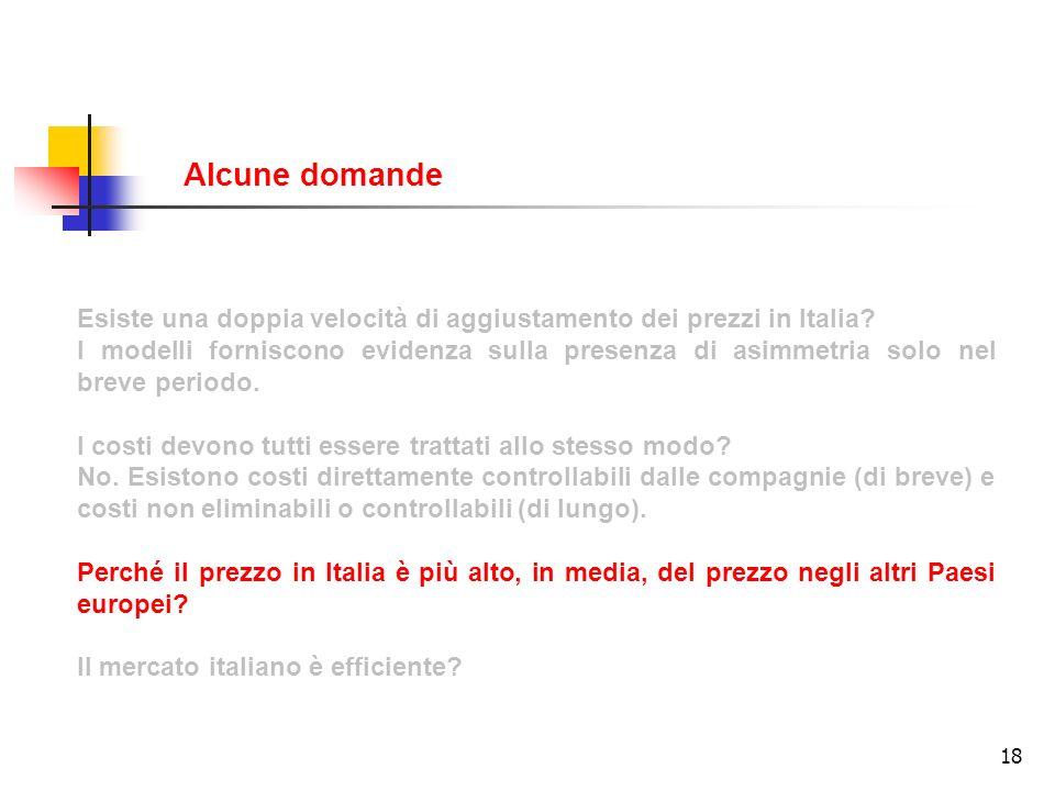 Alcune domande Esiste una doppia velocità di aggiustamento dei prezzi in Italia