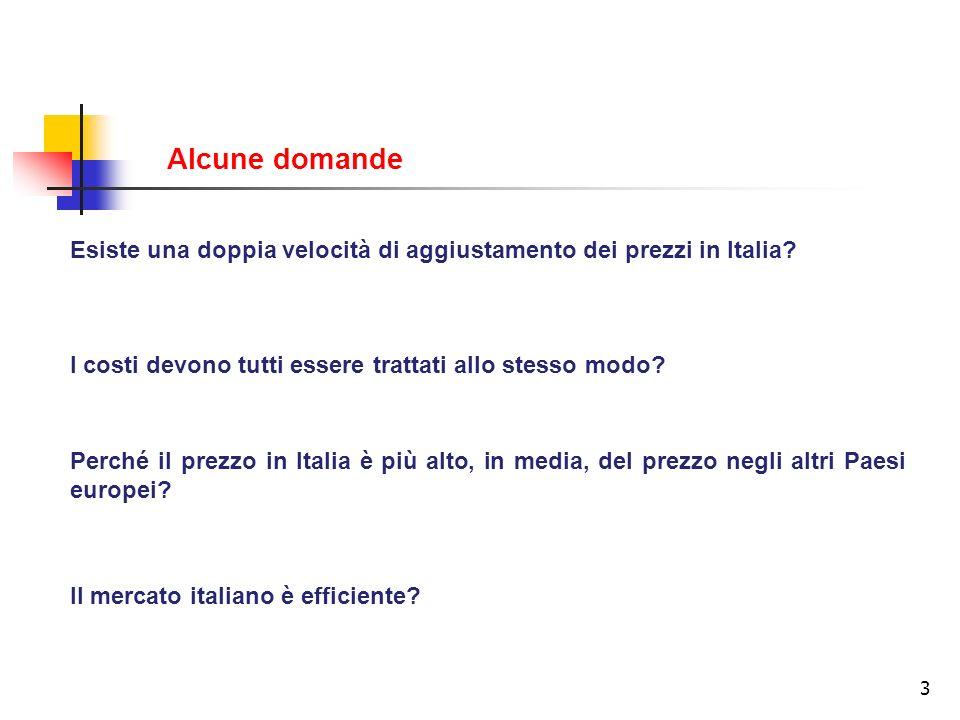 Alcune domande Esiste una doppia velocità di aggiustamento dei prezzi in Italia I costi devono tutti essere trattati allo stesso modo
