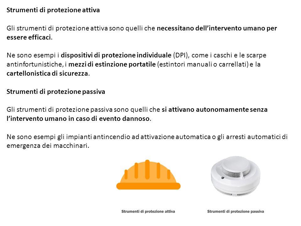 Strumenti di protezione attiva Gli strumenti di protezione attiva sono quelli che necessitano dell'intervento umano per essere efficaci.