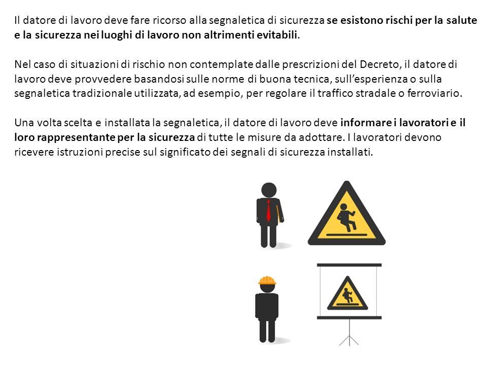 Il datore di lavoro deve fare ricorso alla segnaletica di sicurezza se esistono rischi per la salute e la sicurezza nei luoghi di lavoro non altrimenti evitabili.