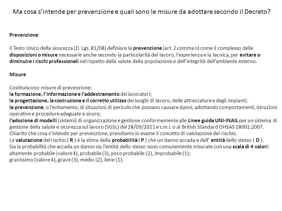 Ma cosa s'intende per prevenzione e quali sono le misure da adottare secondo il Decreto