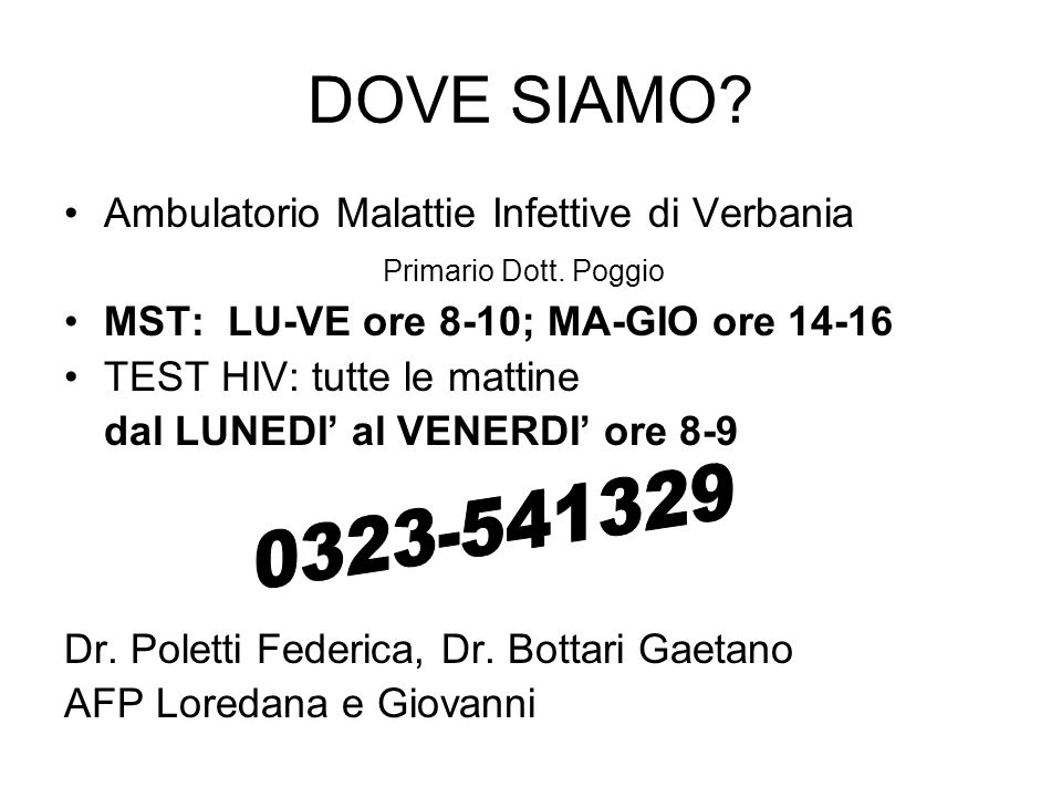 DOVE SIAMO Ambulatorio Malattie Infettive di Verbania