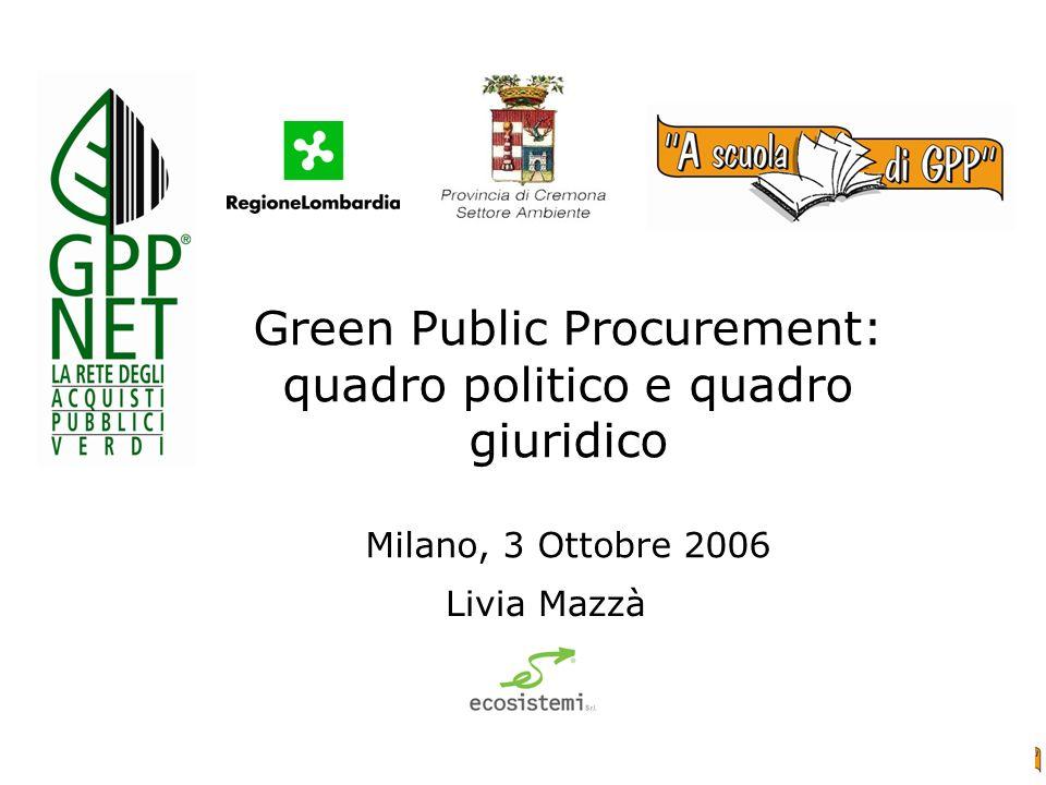 Green Public Procurement: quadro politico e quadro giuridico