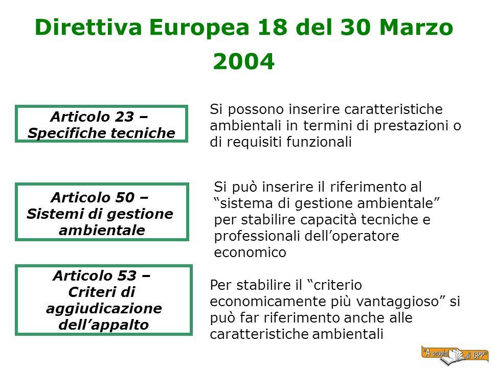 Direttiva Europea 18 del 30 Marzo 2004