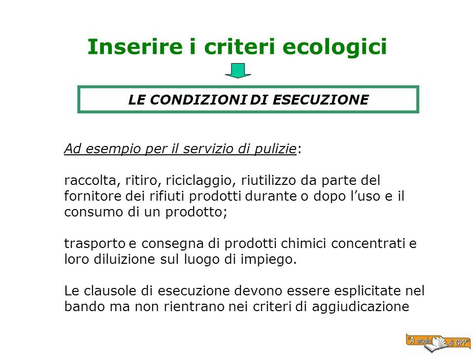 Inserire i criteri ecologici