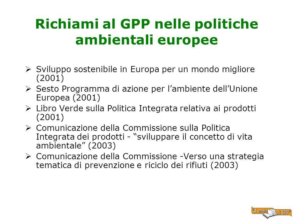 Richiami al GPP nelle politiche ambientali europee