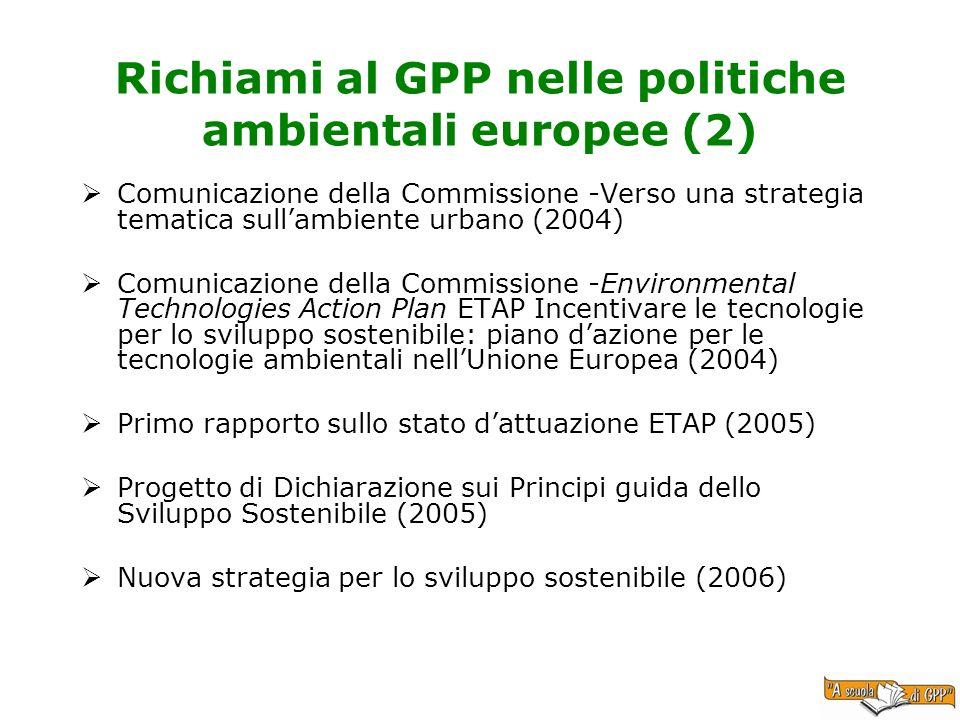Richiami al GPP nelle politiche ambientali europee (2)