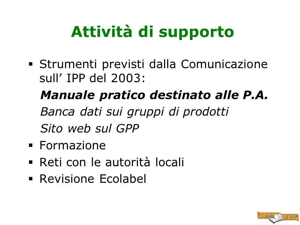Attività di supporto Strumenti previsti dalla Comunicazione sull' IPP del 2003: Manuale pratico destinato alle P.A.