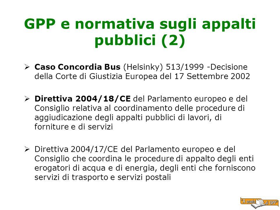 GPP e normativa sugli appalti pubblici (2)