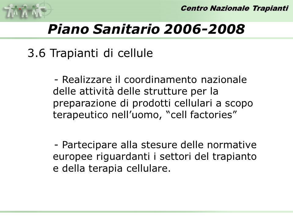 Piano Sanitario Trapianti di cellule