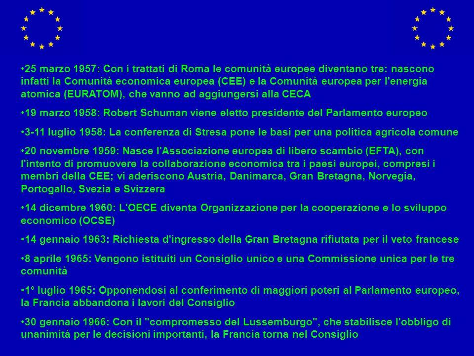 25 marzo 1957: Con i trattati di Roma le comunità europee diventano tre: nascono infatti la Comunità economica europea (CEE) e la Comunità europea per l energia atomica (EURATOM), che vanno ad aggiungersi alla CECA