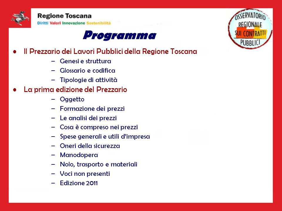 Programma Il Prezzario dei Lavori Pubblici della Regione Toscana