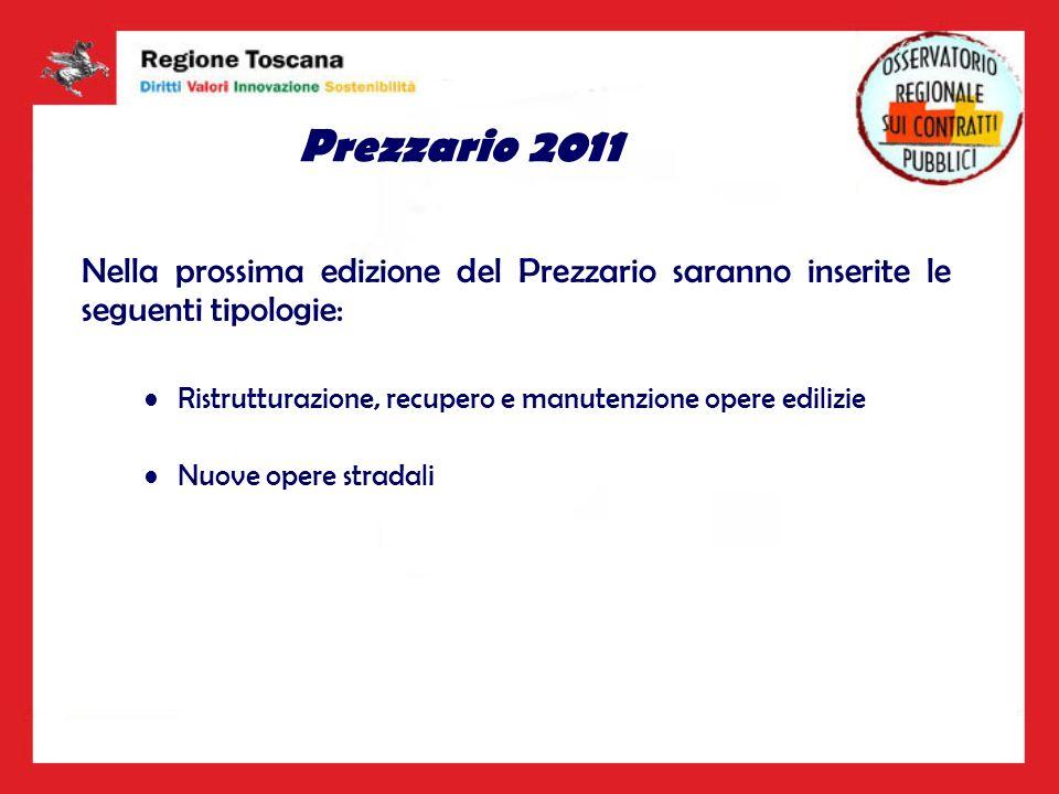 Prezzario 2011 Nella prossima edizione del Prezzario saranno inserite le seguenti tipologie: