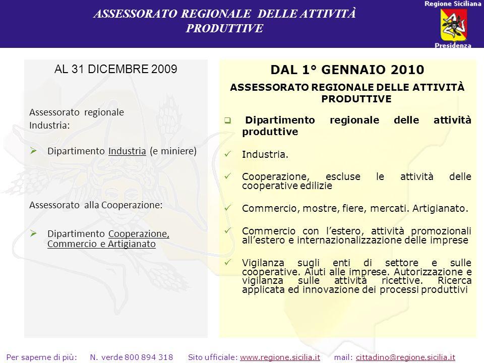 ASSESSORATO REGIONALE DELLE ATTIVITÀ PRODUTTIVE