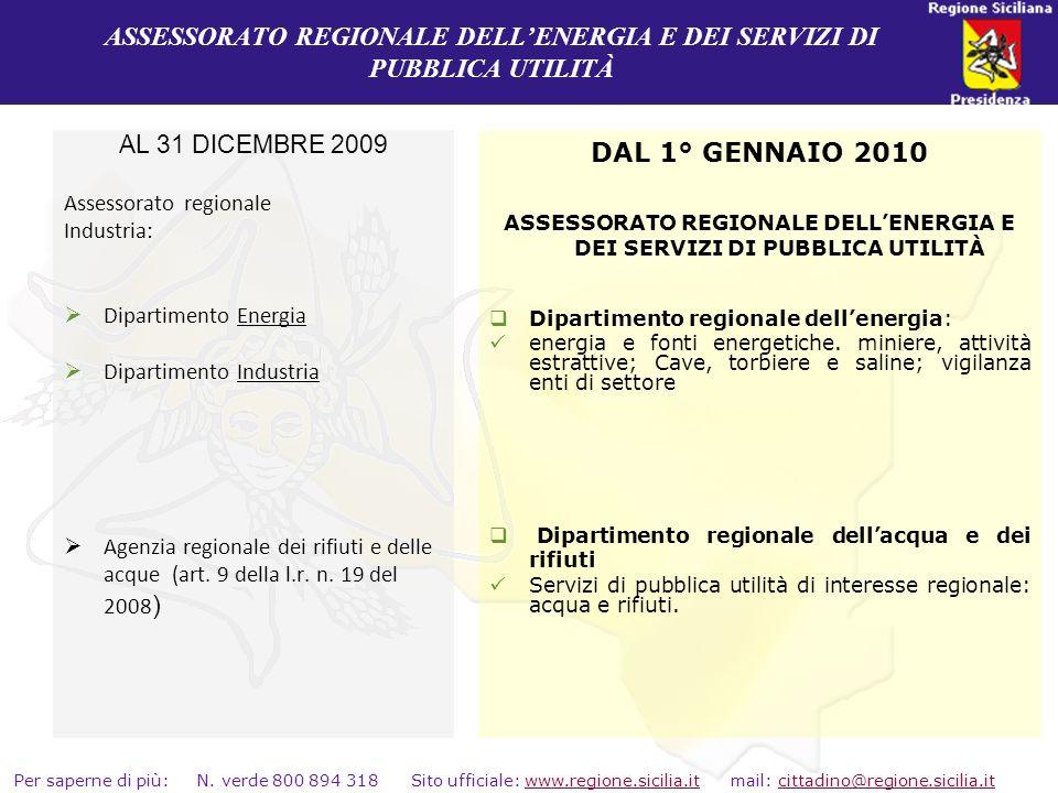 ASSESSORATO REGIONALE DELL'ENERGIA E DEI SERVIZI DI PUBBLICA UTILITÀ