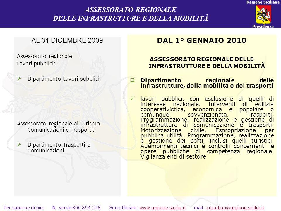 ASSESSORATO REGIONALE DELLE INFRASTRUTTURE E DELLA MOBILITÀ