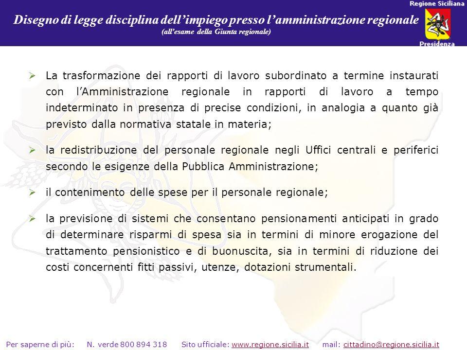 Disegno di legge disciplina dell'impiego presso l'amministrazione regionale (all'esame della Giunta regionale)