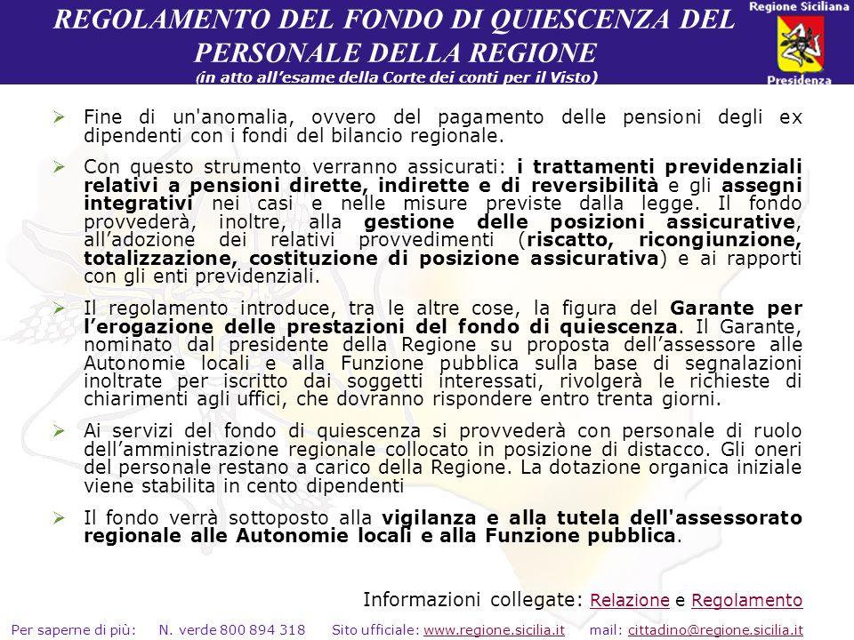 REGOLAMENTO DEL FONDO DI QUIESCENZA DEL PERSONALE DELLA REGIONE (in atto all'esame della Corte dei conti per il Visto)