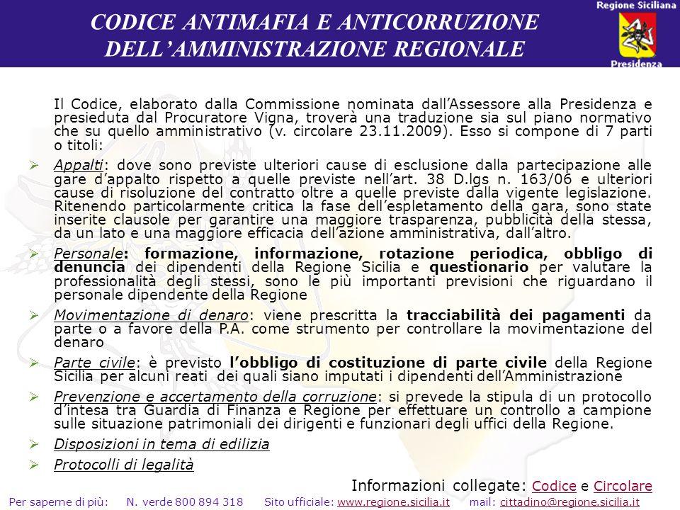CODICE ANTIMAFIA E ANTICORRUZIONE DELL'AMMINISTRAZIONE REGIONALE