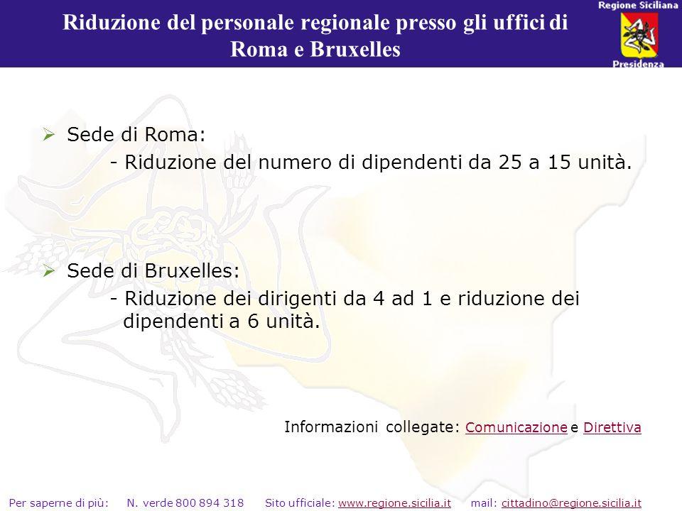 Riduzione del personale regionale presso gli uffici di Roma e Bruxelles