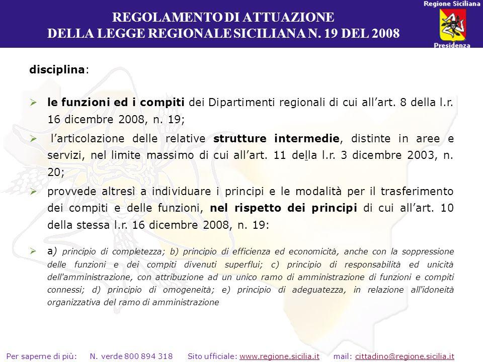REGOLAMENTO DI ATTUAZIONE DELLA LEGGE REGIONALE SICILIANA N