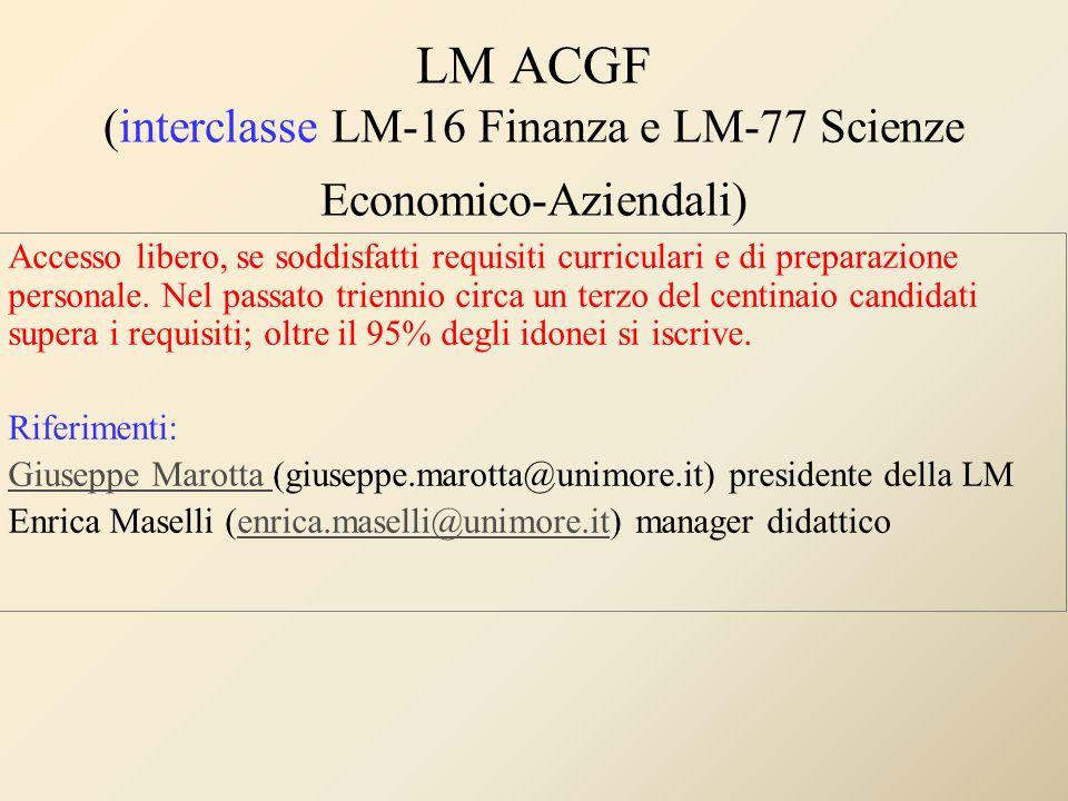 LM ACGF (interclasse LM-16 Finanza e LM-77 Scienze Economico-Aziendali)