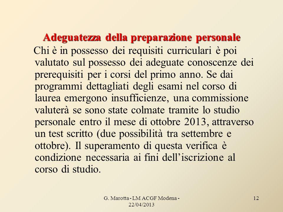 Adeguatezza della preparazione personale