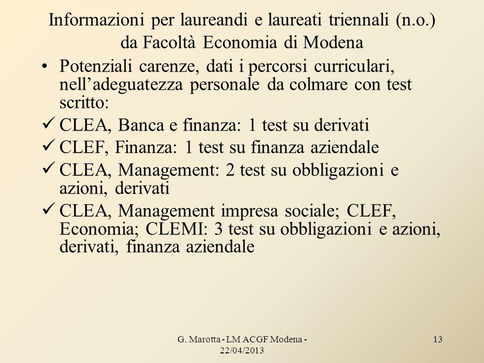 G. Marotta - LM ACGF Modena - 22/04/2013