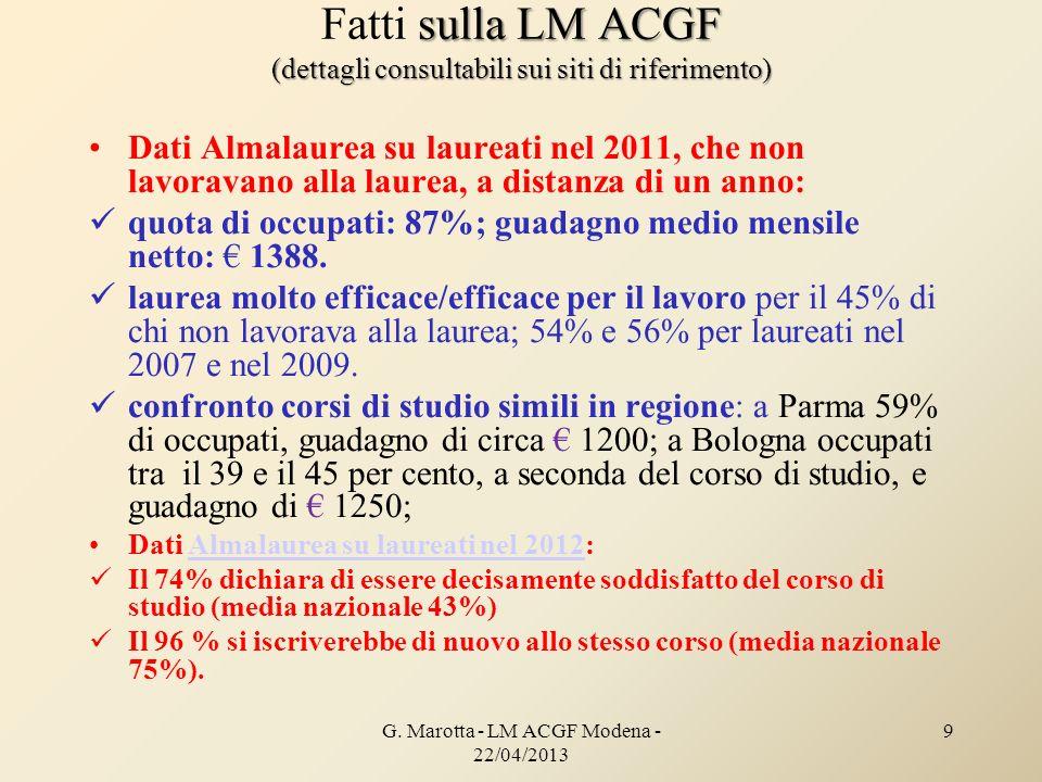 Fatti sulla LM ACGF (dettagli consultabili sui siti di riferimento)