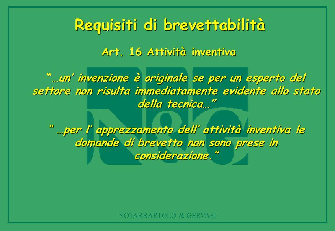 Requisiti di brevettabilità Art. 16 Attività inventiva