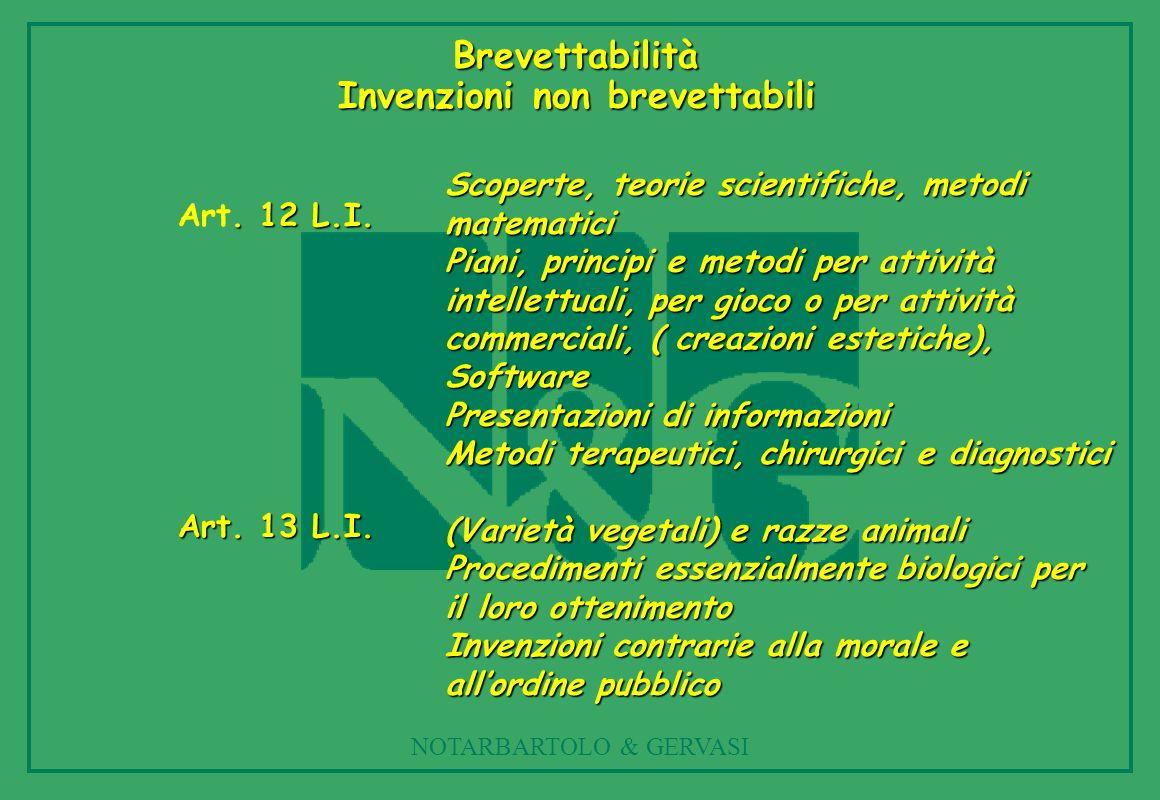 Brevettabilità Invenzioni non brevettabili