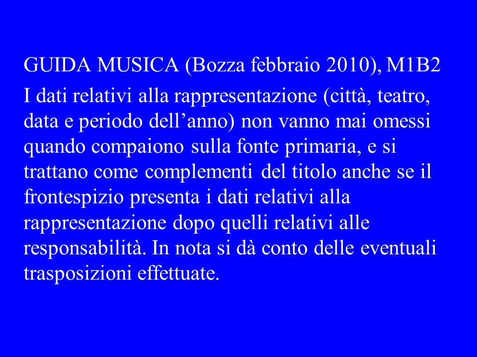 GUIDA MUSICA (Bozza febbraio 2010), M1B2