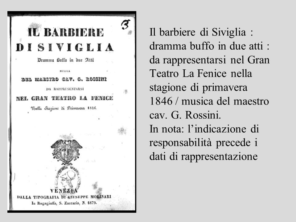 Il barbiere di Siviglia : dramma buffo in due atti : da rappresentarsi nel Gran Teatro La Fenice nella stagione di primavera 1846 / musica del maestro cav.