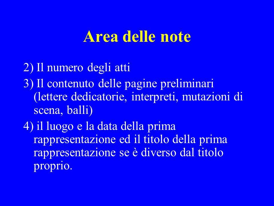 Area delle note 2) Il numero degli atti
