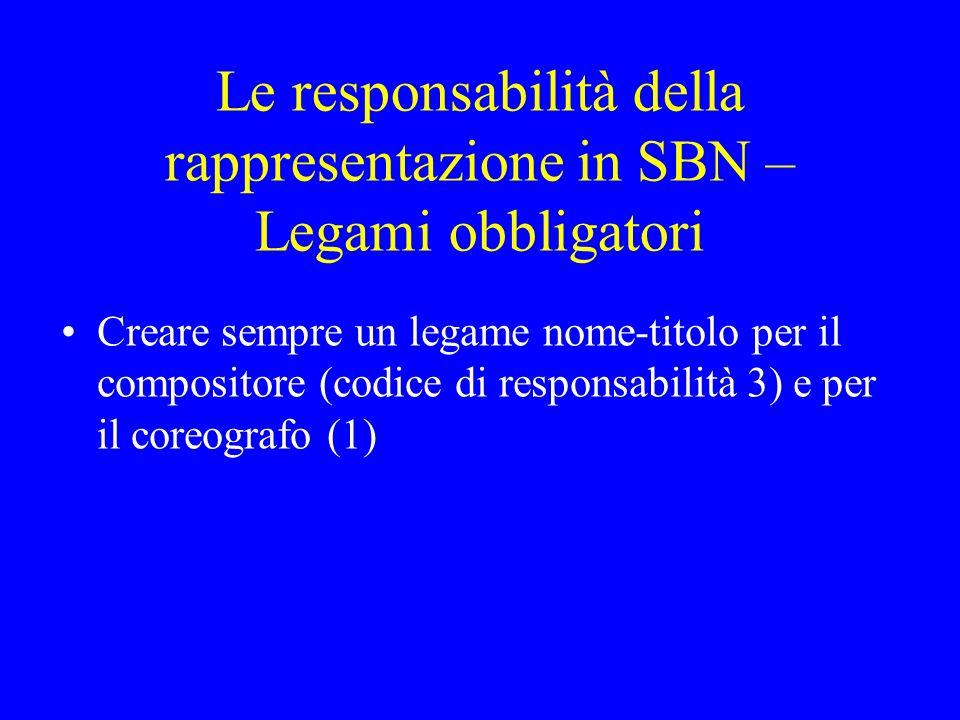 Le responsabilità della rappresentazione in SBN – Legami obbligatori