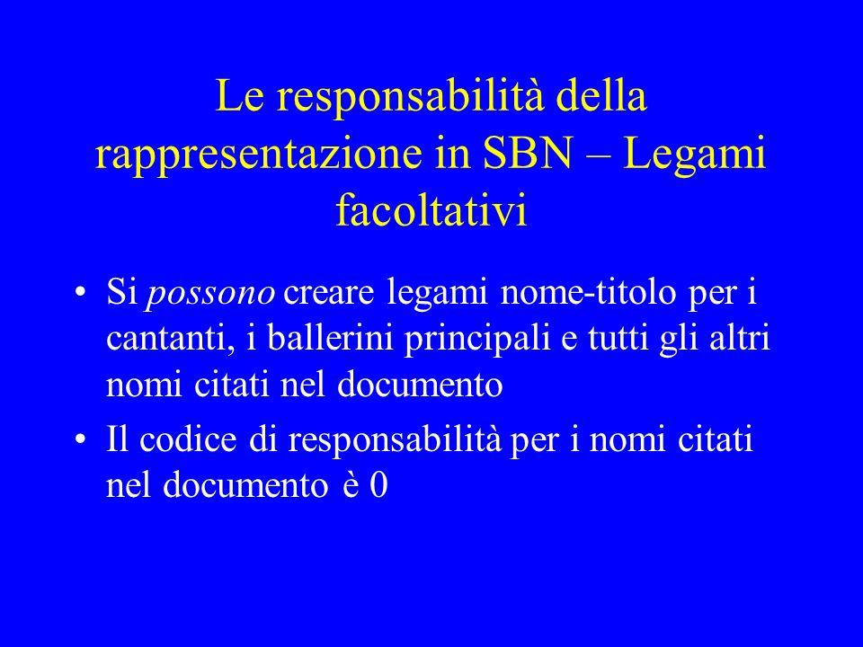 Le responsabilità della rappresentazione in SBN – Legami facoltativi