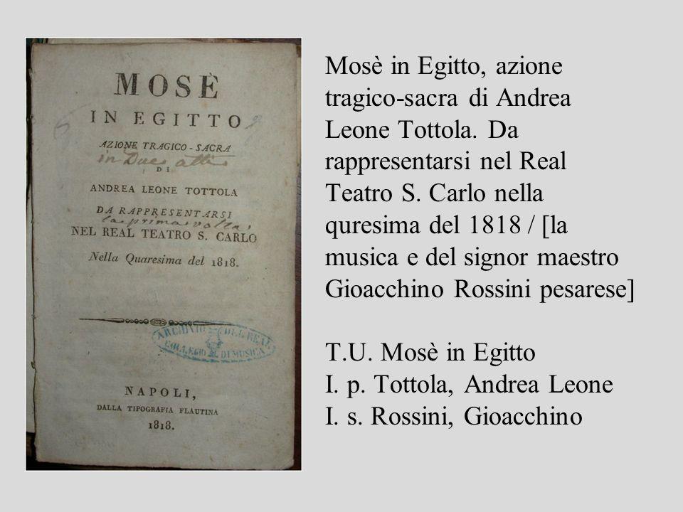 Mosè in Egitto, azione tragico-sacra di Andrea Leone Tottola