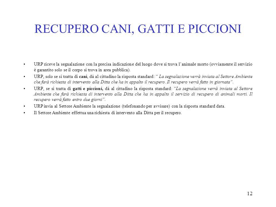 RECUPERO CANI, GATTI E PICCIONI