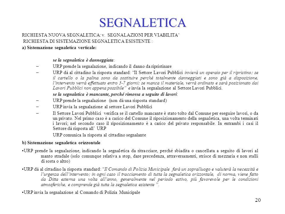 SEGNALETICA RICHIESTA NUOVA SEGNALETICA: v. SEGNALAZIONI PER VIABILITA' RICHIESTA DI SISTEMAZIONE SEGNALETICA ESISTENTE :