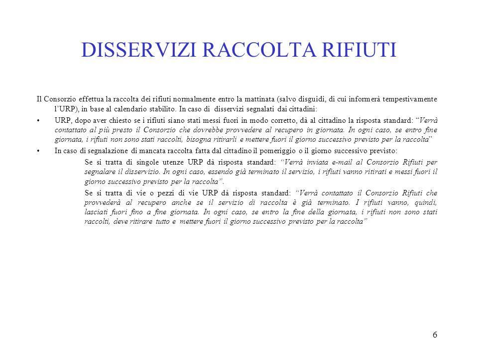 DISSERVIZI RACCOLTA RIFIUTI