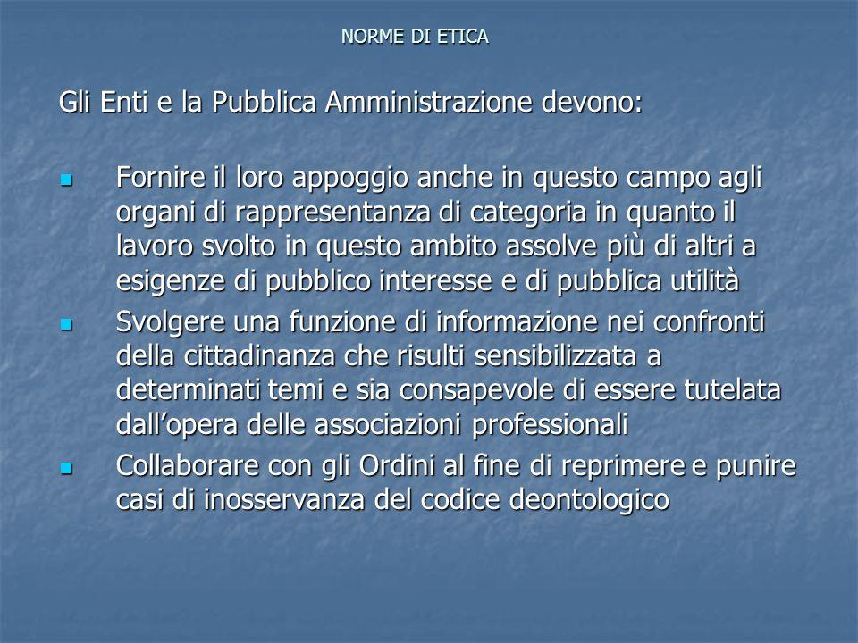 Gli Enti e la Pubblica Amministrazione devono: