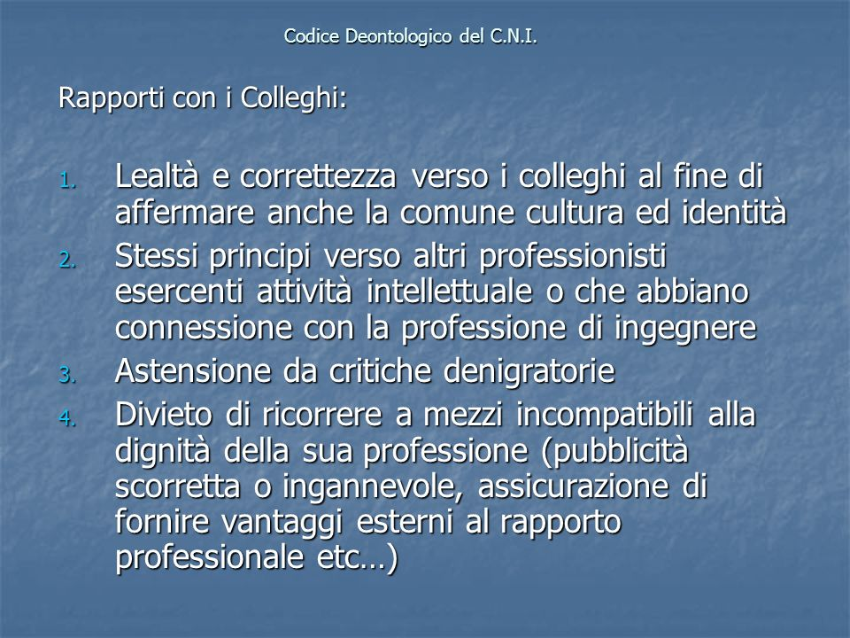 Codice Deontologico del C.N.I.