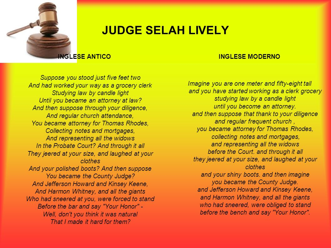 JUDGE SELAH LIVELY INGLESE ANTICO