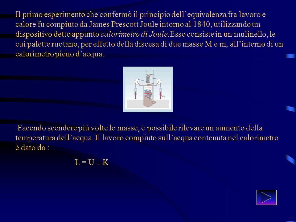 Il primo esperimento che confermò il principio dell'equivalenza fra lavoro e calore fu compiuto da James Prescott Joule intorno al 1840, utilizzando un dispositivo detto appunto calorimetro di Joule.Esso consiste in un mulinello, le cui palette ruotano, per effetto della discesa di due masse M e m, all'interno di un calorimetro pieno d'acqua.