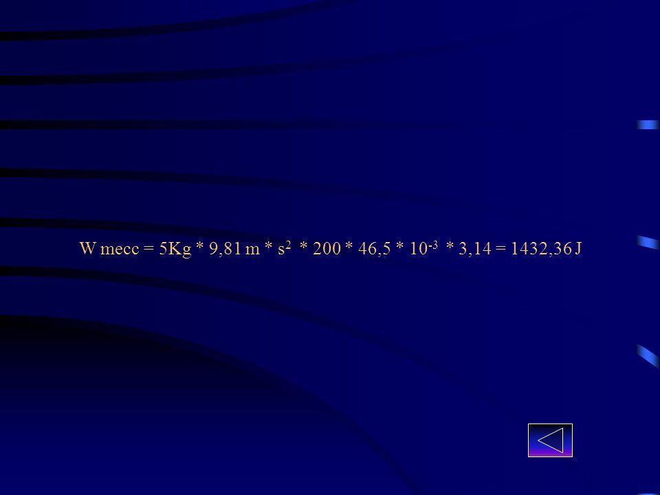 W mecc = 5Kg * 9,81 m * s2 * 200 * 46,5 * 10-3 * 3,14 = 1432,36 J