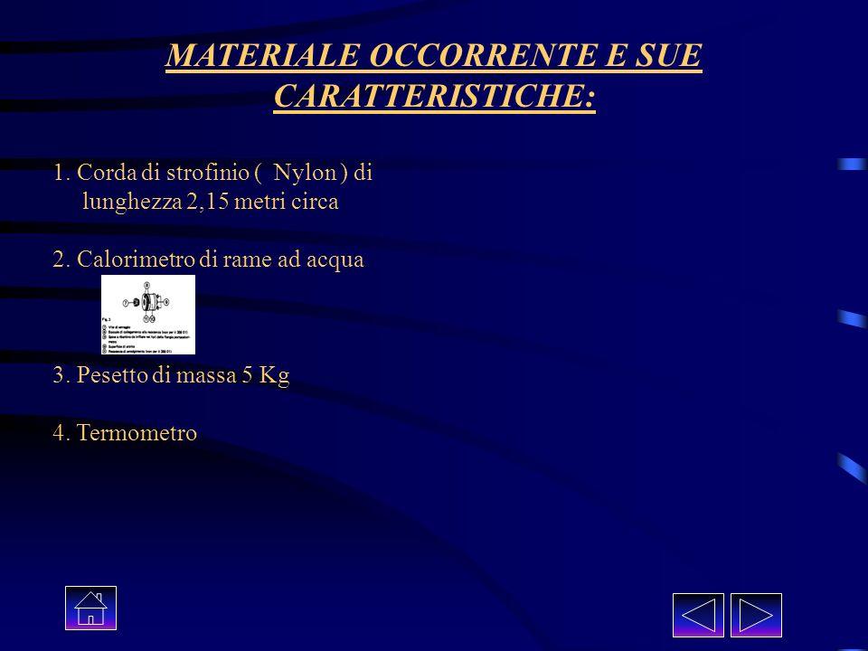 MATERIALE OCCORRENTE E SUE CARATTERISTICHE: