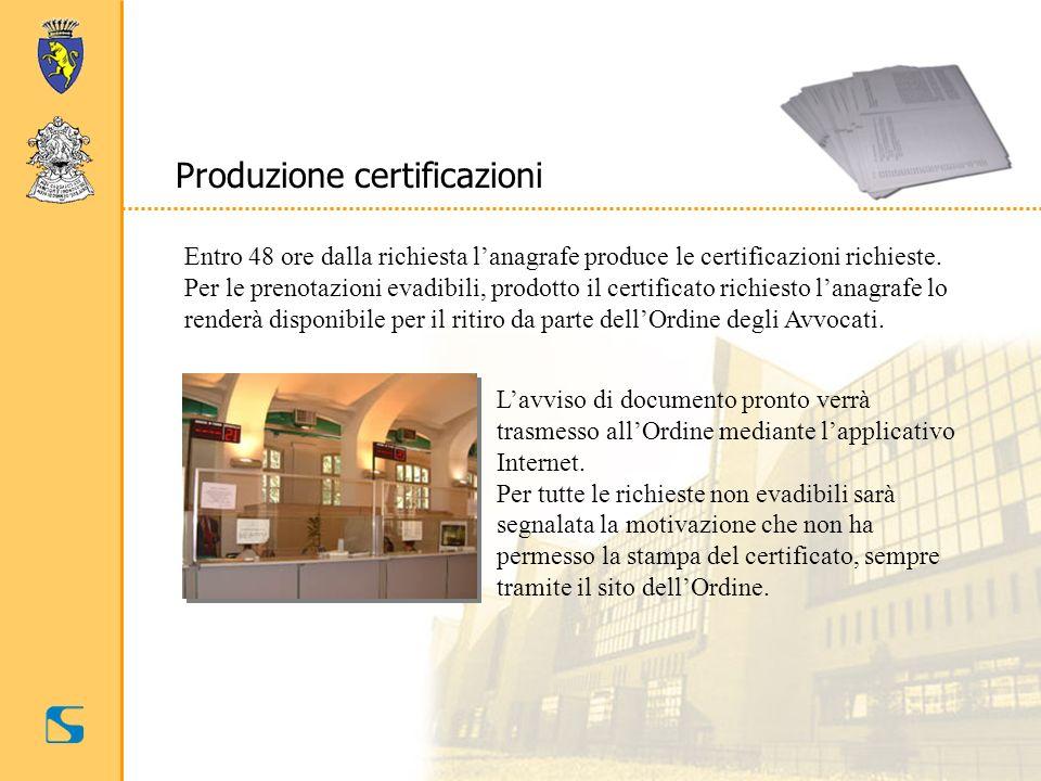 Produzione certificazioni